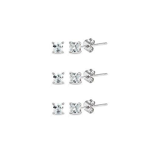 3 Pair Silver Metal (Sterling Silver Cubic Zirconia set of 3 Princess-Cut Square 2mm Stud Earrings)