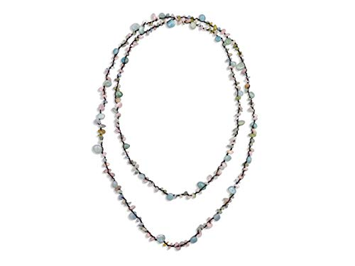 MGR MY GEMS ROCK! Beaded Amazonite Mix Stone Endless Infinity Long or Multi Layered Statement Necklace, 60