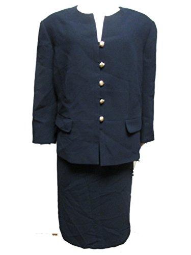 Tahari Women's 2 Piece Suit Set Skirt Blazer 18W Navy Blue