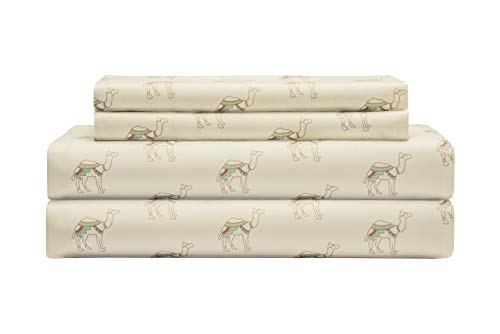 Elite Home Products Microfiber 90 GSM Whimsical Printed Deep-Pocketed Sheet Set Twin Neutral Camel
