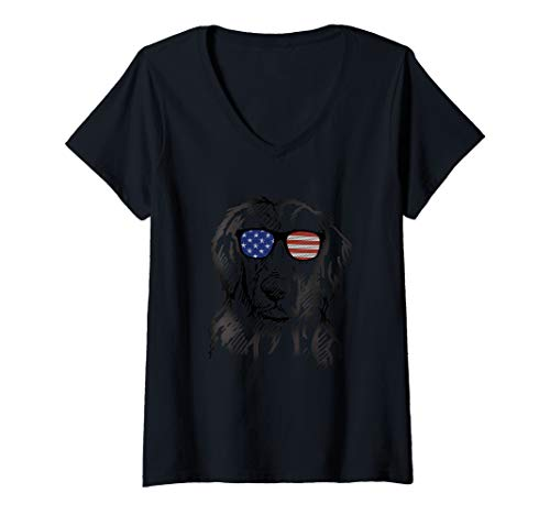 Womens Flat-Coated Retriever in glasses Tee T Shirt Tshirt V-Neck T-Shirt