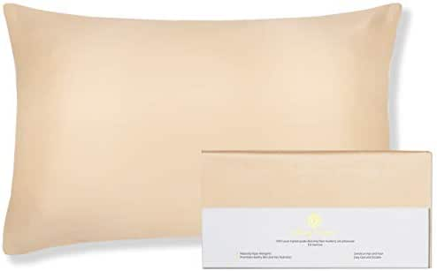 Beauty of Orient - 100% Pure Mulberry Silk Pillowcase for Hair and Skin, 19 Momme Both Sides, Hidden Zipper, Natural Hypoallergenic Silk Pillow Case (1pc Queen - 20