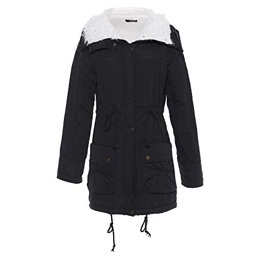 2 Luckycat donna Parka con fodera nero invernali giacche sintetica pelliccia in Cappotti da q6wAR4
