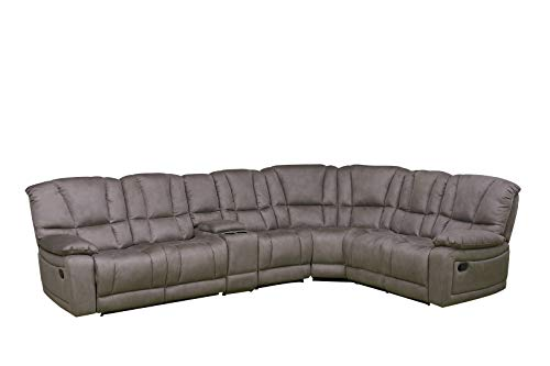 - Betsy Furniture Large Microfiber Reclining Sectional Living Room Sofa in Grey 8019