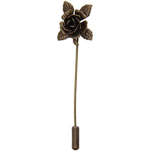 Homme Broche Pin Fleur de Revers Métal - Cuivre Antique