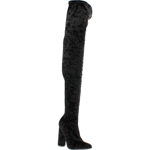 Robbin Block Cape Black Pointy Stretchy Heel Toe Crushed 27 Boot Paw Over Velvet Thigh High Knee HFfq7Fdw