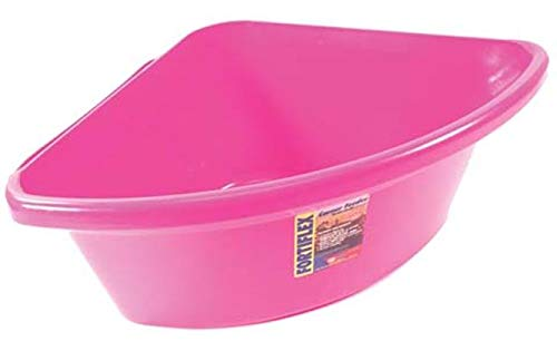 Corner Bucket - Fortiflex Corner Feeder for Dogs and Horses, 6-Gallon, Hot Pink