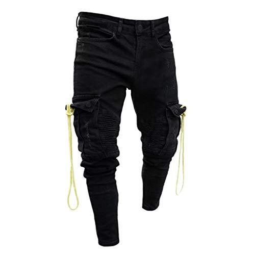 Jeans Difficulté Moonuy Noir La Pantalon Pantalons Mode Casual Solide Droite Cordon Course Poche À Denim Hommes De En qHwgOxZE