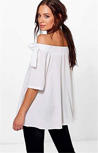 Colore Parola Vintage Senza Spalla Donna Shirts Magliette Casuali Bow Elegante Estivi Grazioso Hipster Spalline Moda Tops di Stlie Moda Puro Bianca di Tie Camicetta wqavIq