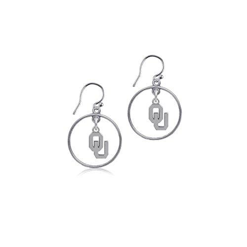 University of Oklahoma Sooners OU Sterling Silver Jewelry by Dayna Designs (Open Drop Earrings) (Ring Sooners Oklahoma Silver Sterling)
