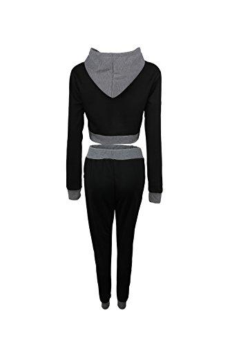 Las Mujeres De 2 Piezas De Tops De Cultivo Pantalón Largo Conjunto,Trajes De La Pista Del Suéter Black
