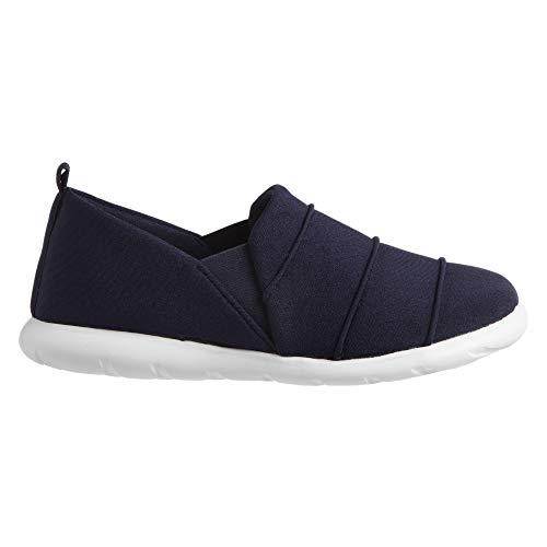 ISOTONER Zenz Women's Serenity Stretch Satin Slipper, Slip-On Shoe, Navy Blue, 11