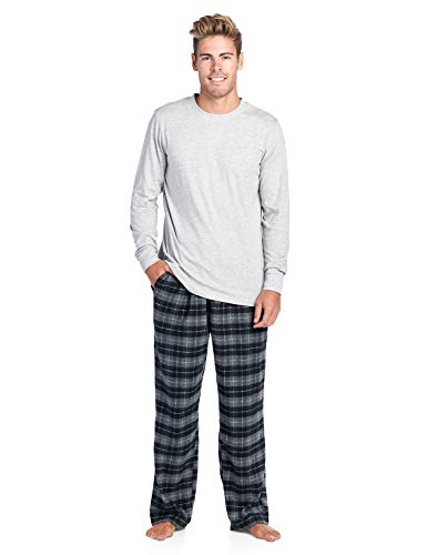 (Ashford & Brooks Mens Flannel Long-Sleeve Top and Flannel Bottom Pajama Set - Black Check - X-Large)