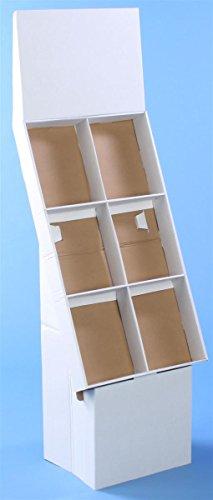 Displays2go Floor Standing Magazine Stand, Set of 5 Catalog Racks, White Cardboard (WCFL6WHT) - Cardboard Floor Display