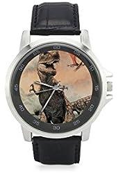 "Dinosaur T-Rex Unisex Metal Silver Stainless Steel Leather Strap Watches, Wrist Watch, Watch Face Diameter: 1.4"""