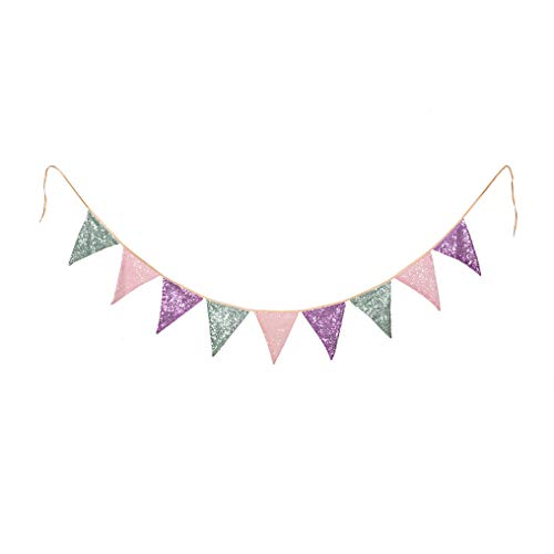 PartyDelight Lavender Mint Green and Pink Sequin Bunting, Multicolor Fabric Triangle Flag Bunting for Party,Wedding Sequin Bunting/Garland, Outdoor Bunting Flag(9 Flags in one Bunting,2 Packs)