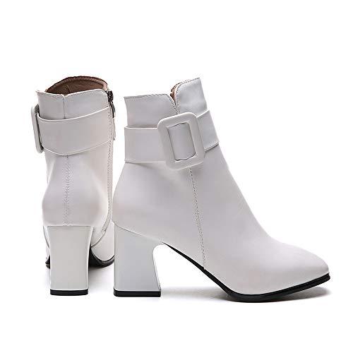 f9893d85e5e Boots Martin Blanc Sexy Et Femmes 43 Bout Pointu Hauts Bottes À Pour Talons  nbsp bottes taille Kaiki ...