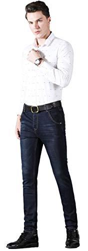 - Plaid&Plain Men's Fleece Lined Jeans Stretch Slim Straight Jeans 823 Black 28