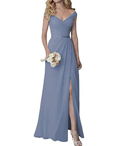 Yilis Elegant V-Neck Chiffon Split Long Bridesmaid Dress Wedding Party Formal Gown Dusty Blue 6 ()