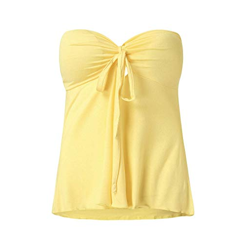 ALLYOUNG Women's Solid Sexy Beach Sling Wrap Tops T-Shirt Matching Chest Pad Blouse Vest Tunic (Yellow, XL) ()