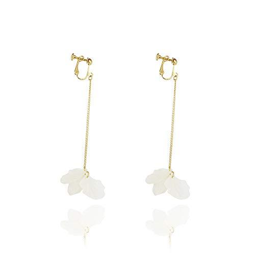 White Flower Clip On Earrings Drop Dangle Faux Earring Women No Piercing Jewelry