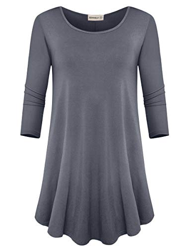 ZENNILO Womens 3/4 Sleeve Loose Fit Swing Tunic Tops Basic T Shirt (Deep Gray, M)