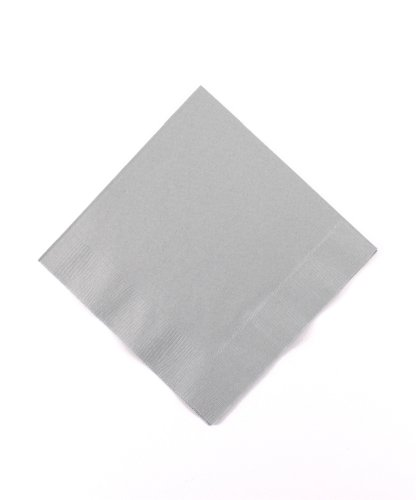 Amscan Silver 3-Ply Paper Beverage Napkins, 50 Ct. | Party Tableware