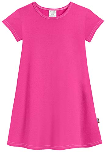 City Threads Big Girls' Cotton Short Sleeve Cover Up Dress for Sensitive Skin SPD Sensory Friendly, Hot Pink, 7 -