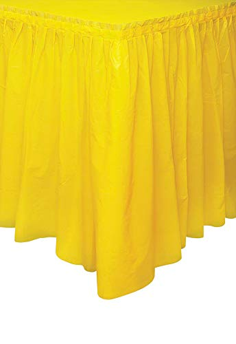 Unique Industries, Plastic Table Skirt, Party Supplies - Yellow, 29 Inches x 14 Feet