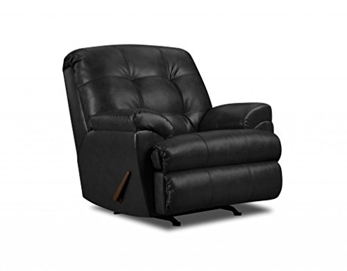 [Simmons Upholstery 9569-19 Soho Onyx Bonded Leather Rocker Recliner] (Soho Black Leather)
