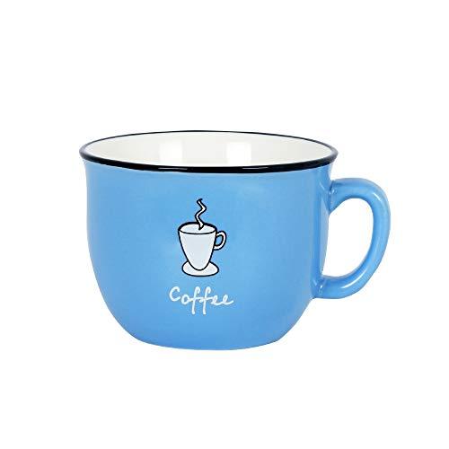 Momugs 8 oz Coffee Cup Cute Blue Ceramic Tea Cup Lovely Small Milk Mug,Blue