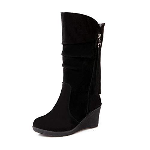 GIY Women's Wedge Platform Slouch Boots Mid Calf Suede Round Toe Wide Width High Heel Tassel Dress Boots