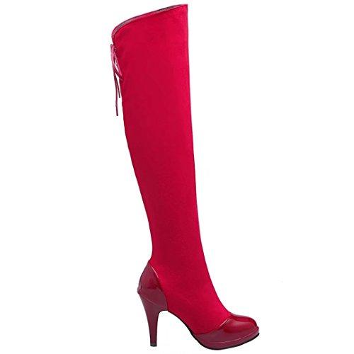 AIYOUMEI Damen Stretch Overknee Stiefel mit 10cm Absatz Stiletto High Heels Langschaft Stiefel Schuhe Rot