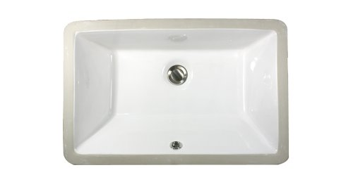 Nantucket Sinks UM-19x11-W 19-Inch by 11-Inch Rectangle Ceramic Undermount Vanity Sink, White