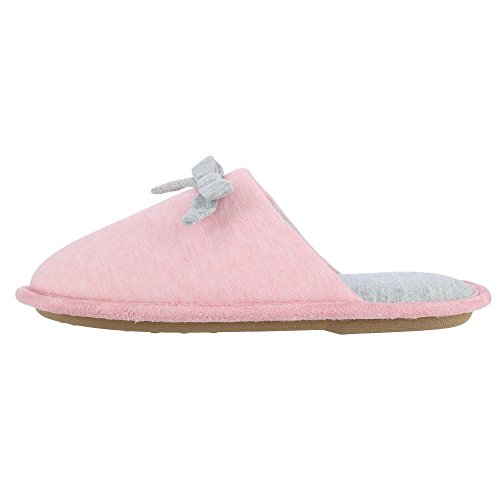 Heather Hanes Pink Bow Slipper Slide Toe Heather Women's Jersey with Closed qvOwz4Tq