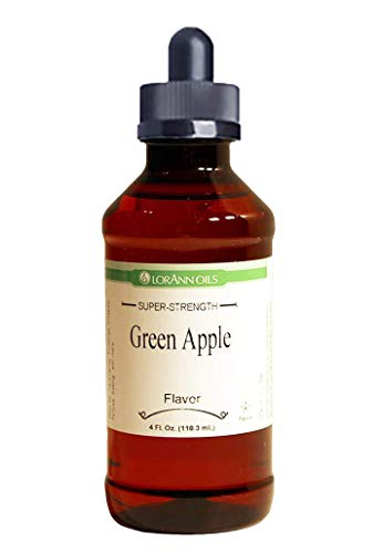 Green Apple Hard Candy Flavoring 4 oz, by LorAnn Oils, with Glass Dropper Bundle