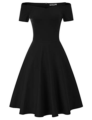 Fifties Dresses Plus Size (50s Dress Vintage Party Dress Wear to Work Plus Size 2XL Black)