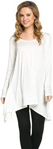 Frumos Womens Long Sleeve Handkerchief Hem Tunic Top T Shirts
