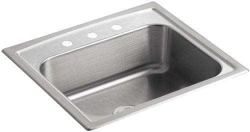 KOHLER K-3348-3-NA Toccata Single-Basin Self-Rimming Kitchen Sink, Stainless Steel