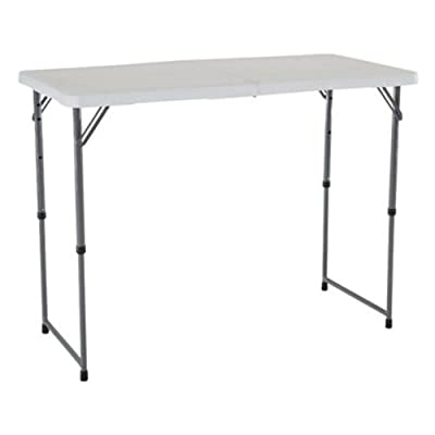 4428 Lifetime White 4ft Rectangle Light Commercial Fold-In-Half Adjustable Height Folding Table