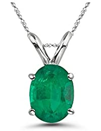 0.14-0.26 Cts of 5x3 mm AA Oval Natural Emerald Solitaire Pendant in Platinum - Valentine's Day Sale