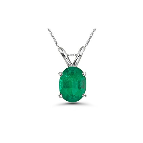 Oval Emerald 5x3mm (0.14-0.26 Cts of 5x3 mm AA Oval Natural Emerald Solitaire Pendant in 18K White Gold)