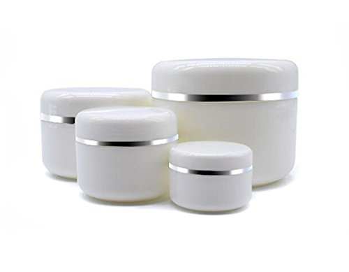 20ml/50ml/100ml/250ml Empty White Silver Edge Portable Refillable Plastic Cosmetic Makeup Face Cream Jar Sample Container Bottle Pot (100ml(3.4oz)-6PCS)