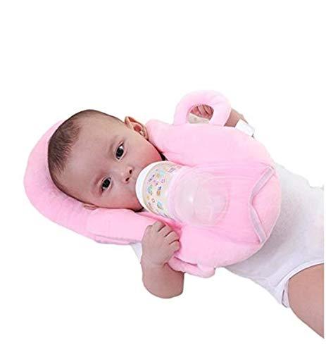 Baby Detachable Feeding Pillows Anti Roll Prevent Flat Self Feeding Nursing Pillow Portable Breast Feeding Pillows (Pink)