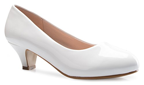 (OLIVIA K Womens Classic Closed Toe Kitten Heel Pumps | Dress, Work, Party Low Heeled,White Patent,9 B(M) US)