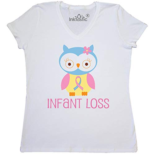 inktastic Infant Loss Awareness Owl Women's V-Neck T-Shirt Small White (Sids Pregnancy And Infant Loss Awareness Month)