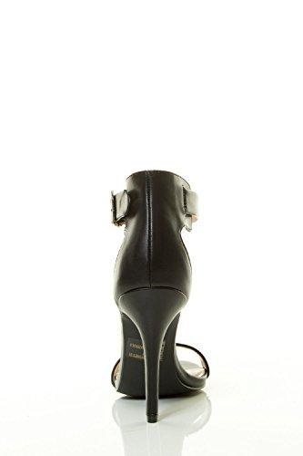Breckelles Bout Ouvert Talon Aiguille Talon Haut Semelle Unique Bride À La Cheville Sandale Noir