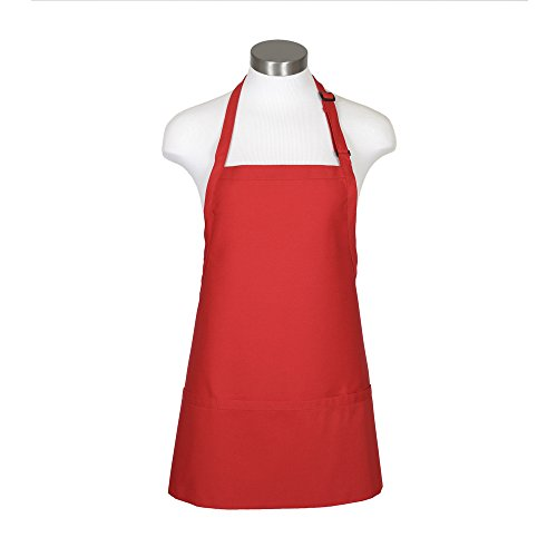 Fame Adult's Extra Large 3 Pocket Bib Apron-Red-XL - Red 3 Pocket Bib Apron