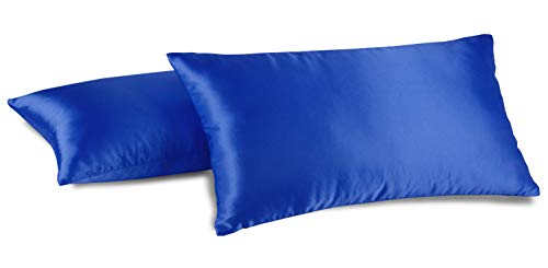 Aiking Home 2 Pieces of Hidden Zipper Shiny Bridal Satin Pillow Cases, King Size - Royal