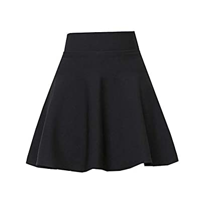 Fellee Women's Basic Versatile Stretchy Flared Casual Mini Skater Skirt